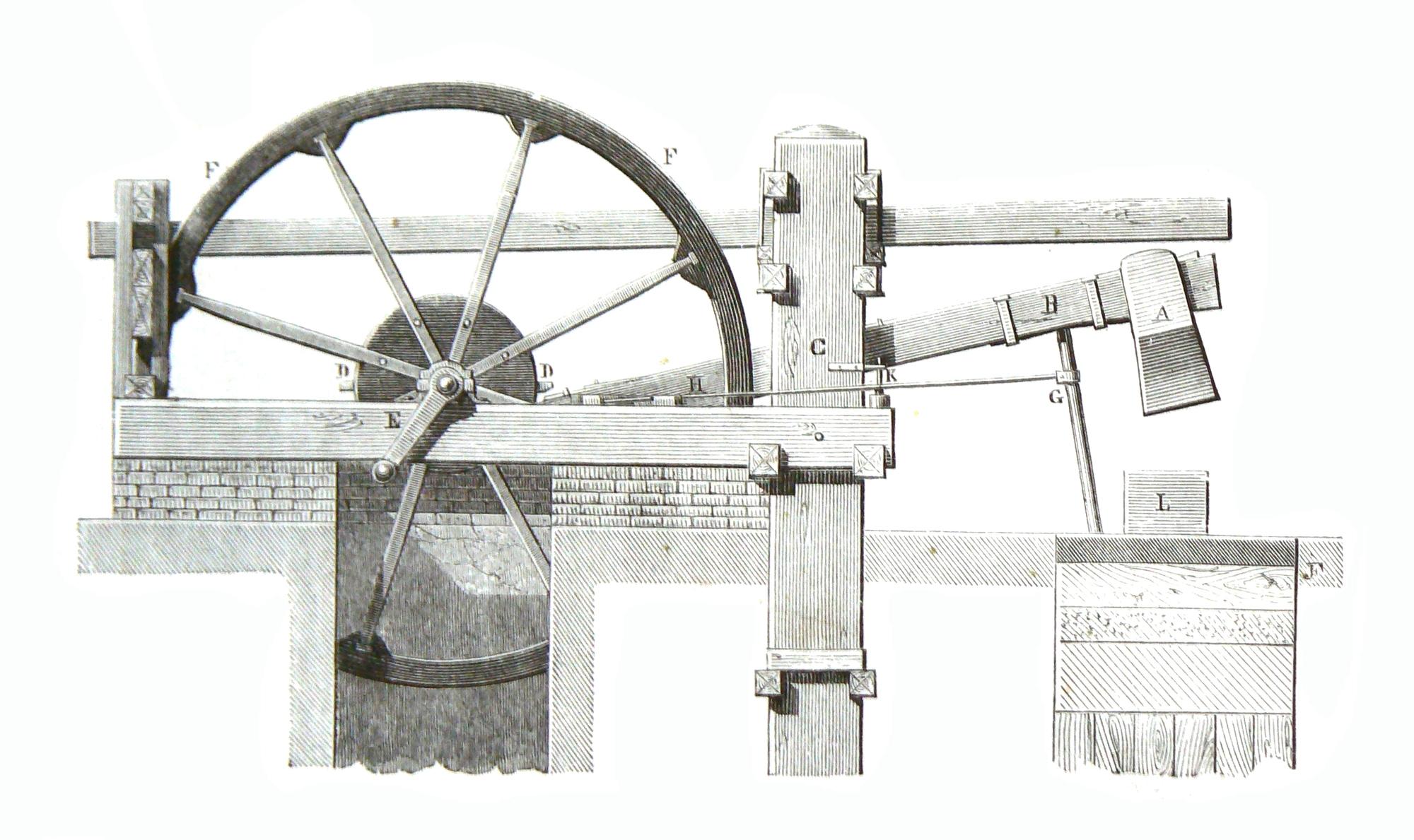 Illustration du martinet - cours de mécanique de Charles Delaunay, édition 1868