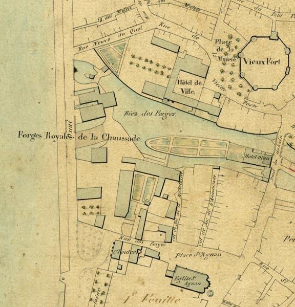Plan des forges de La Chaussade en 1836 (Source : Mairie de Cosne)